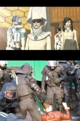 Las fuerzas policiales de la Sociedad Karma (arriba) y Estados Unidos (abajo)